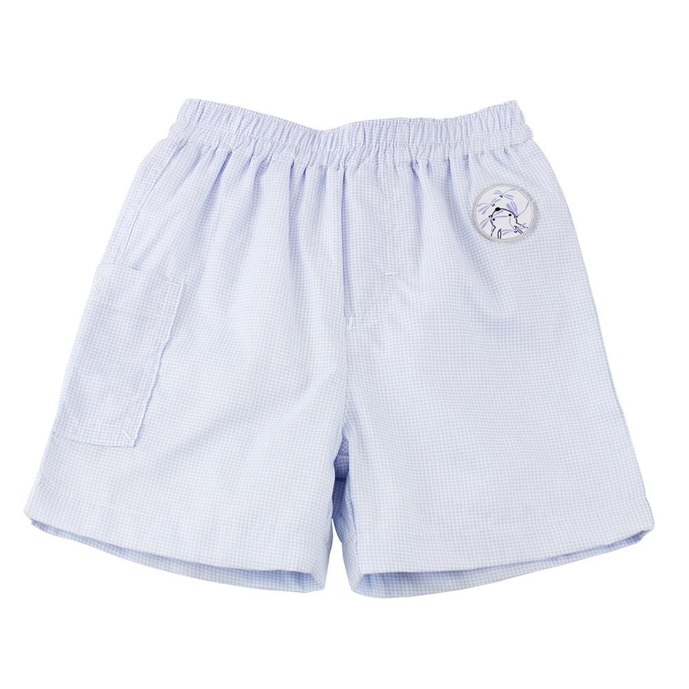 愛的世界 純棉鬆緊帶小兔蜻蜓格紋短褲/6M~2歲