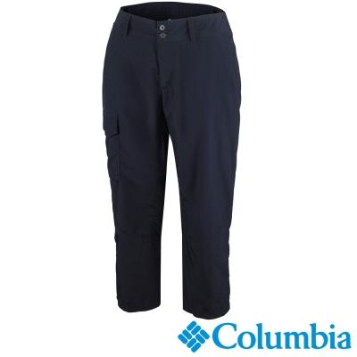 【Columbia哥倫比亞】女-快排防曬50七分褲-黑灰色 UAL80090BY