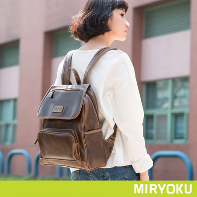 MIRYOKU-經典復古皮革系列 / 多口袋休閒出遊後揹包-泥綠