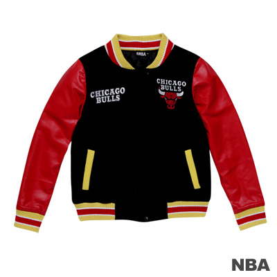 NBA-芝加哥公牛隊繡花鋪棉撞色棒球外套-黑色(女)