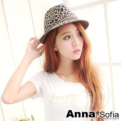 AnnaSofia 雙色魅豹短絨 紳士帽爵士帽
