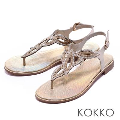 KOKKO舒適耐走璀璨水鑽花瓣繫帶夾腳涼鞋米