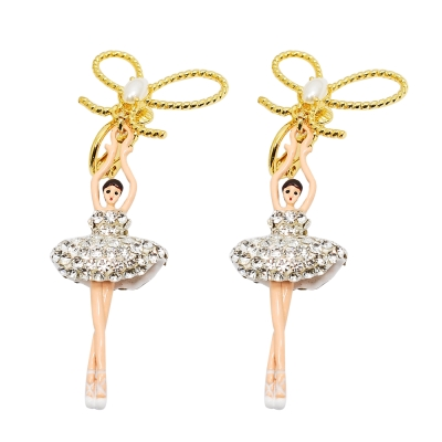 Les Nereides 優雅芭蕾舞女孩系列 珍珠蝴蝶結亮鑽舞者耳環 穿針式