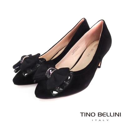 Tino-Bellini-優雅名媛麂皮亮鑽蝴蝶結跟