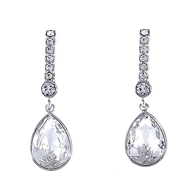 SWAROVSKI 施華洛世奇 優雅長鍊水滴造型水晶銀色耳墜耳環