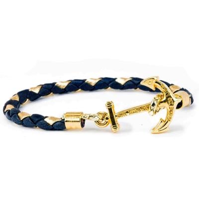 Kiel James Patrick深藍金色皮革編織金色船錨單圈手環