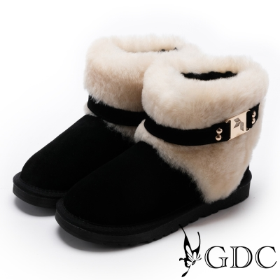 GDC-甜美氣質方釦毛毛雪靴-黑色