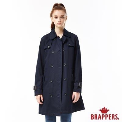 BRAPPERS 女款 雙排釦風衣外套-深藍