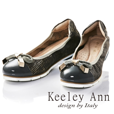 Keeley Ann甜美氣息~麻繩蝴蝶結全真皮特殊壓紋平底娃娃鞋(灰色)