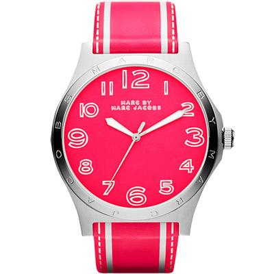 Marc Jacobs  Henry  Sport 條紋系列腕錶-螢光粉/43mm