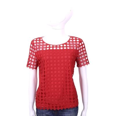 TORY BURCH 紅色圓點簍空拼接短袖T恤