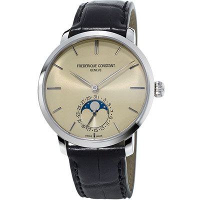 康斯登 CONSTANT 自製機芯超薄月相腕錶 -香檳象牙色/42mm