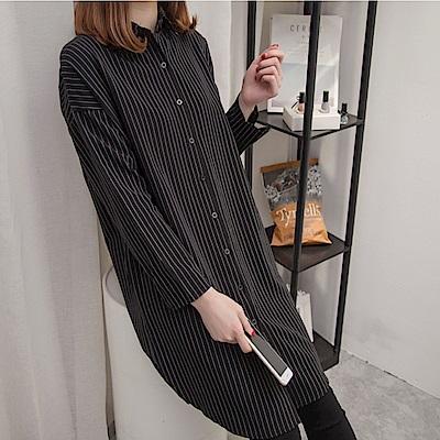 中大尺碼百搭條紋排釦長版襯衫洋裝XL~ 4 L-Ballet Dolly