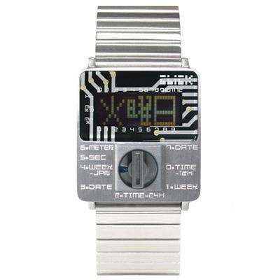 CLICK TURN 創意電路板個性電子腕錶-銀鋼灰