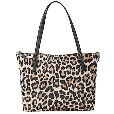 Kate Spade Leopard Lane 豹紋印花尼龍托特包(黑色)