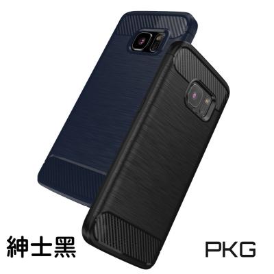 PKG Samsung A7 2017 抗震防摔手機殼-碳纖維紋系列-紳士黑