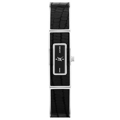 DKNY 個性延展都會仕女腕錶-黑x鱷魚紋/13mm