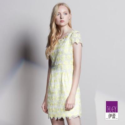 ILEY伊蕾 嫩甜鵝黃縷空蕾絲洋裝(黃)
