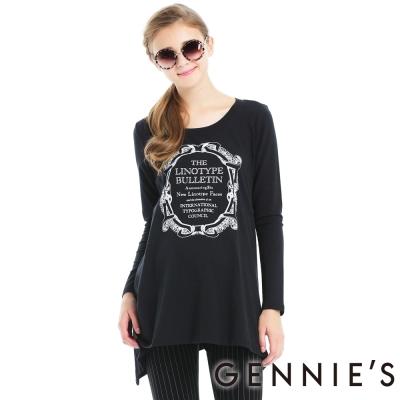 Gennies奇妮-圖印棉質感不規則傘狀秋冬長版上衣(T3A12)-黑