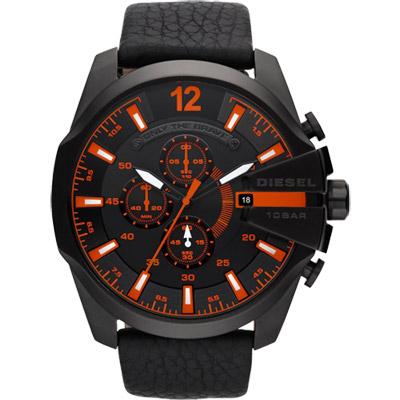 DIESEL 個性驚艷三眼運動腕錶-黑x橘/51mm
