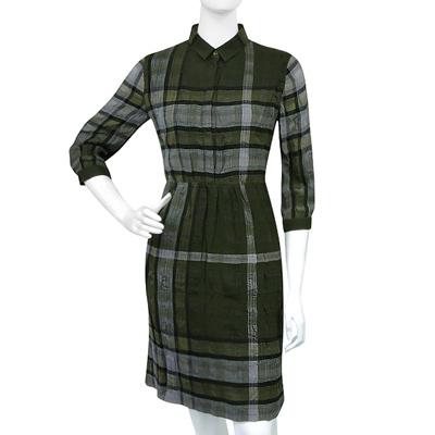 BURBERRY 格紋七分袖洋裝(US2/6/8/10號)(綠色)
