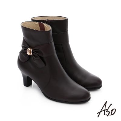A.S.O 優雅時尚 立體蝴蝶結飾奈米中筒靴 咖啡色