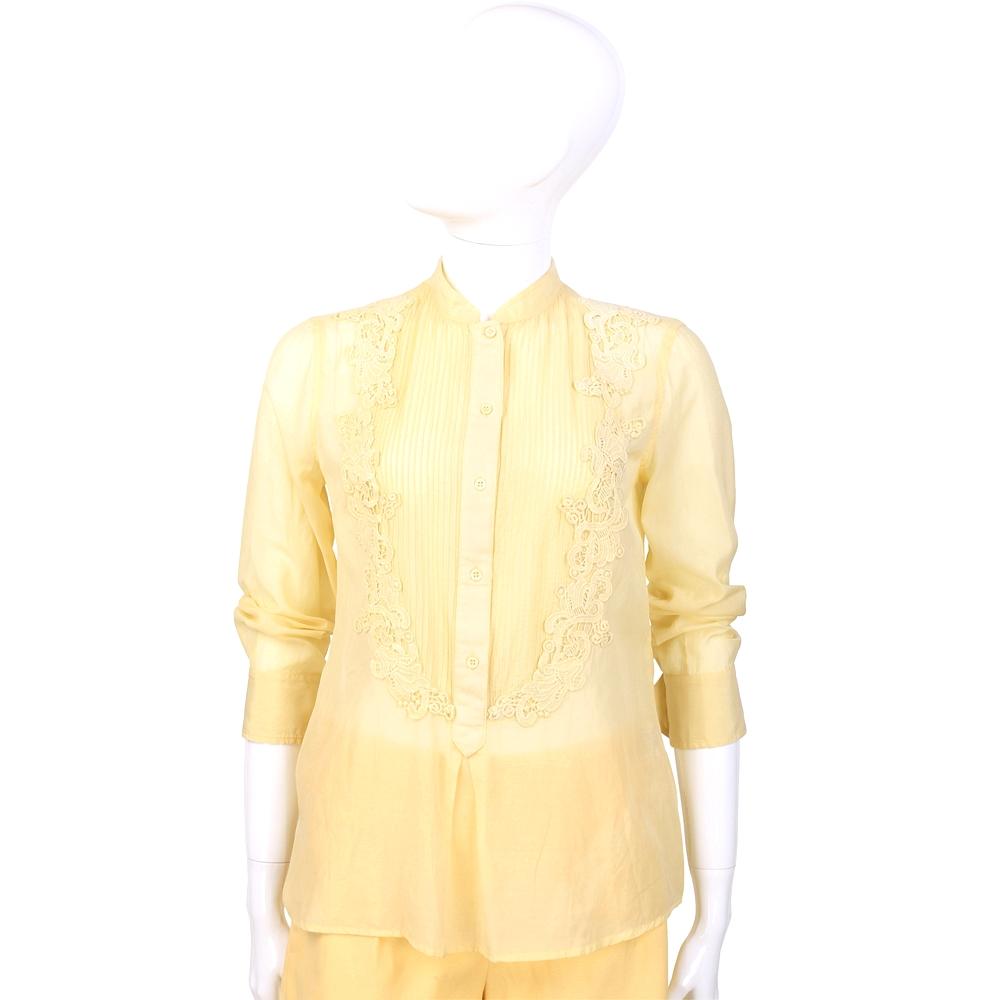 SCERVINO 黃色織花拼接七分袖上衣