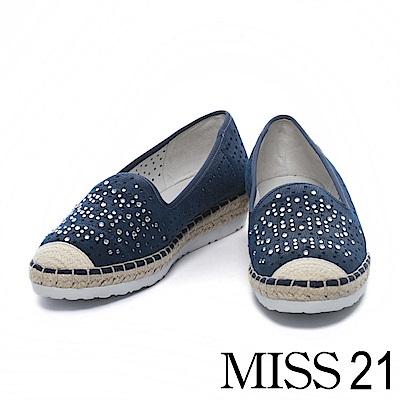 休閒鞋 MISS 21 異材質拼接精緻水鑽沖孔草編厚底休閒鞋-藍
