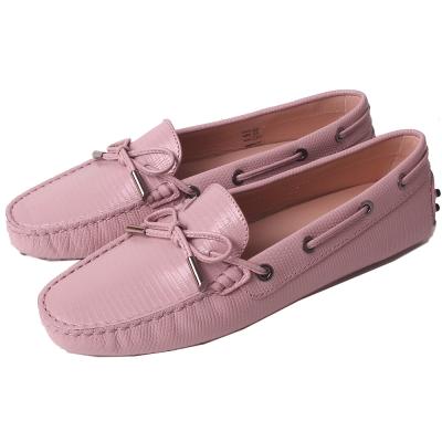 TOD'S Gommino 經典壓紋綁帶豆豆休閒鞋(櫻花粉)