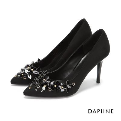 達芙妮DAPHNE 高跟鞋-立體花朵絨布細高跟鞋-黑