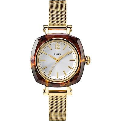 TIMEX 天美時 風格系列 簡約手錶-銀x金色