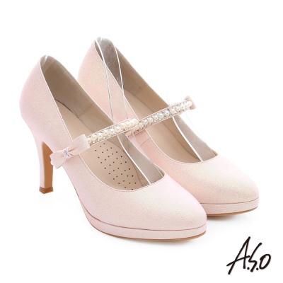 A.S.O 幸福華爾滋 金蔥布料背帶婚宴高跟鞋 粉紅色