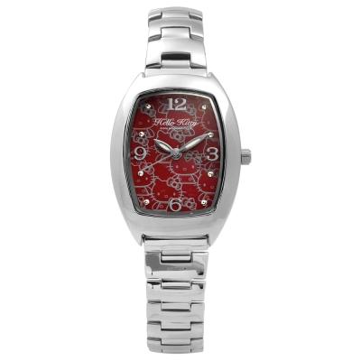 HELLO KITTY 凱蒂貓滿版俏麗手錶 紅x銀/24mm