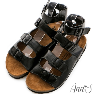 Ann'S視覺個性-羅馬牛皮軟底寬版全真皮涼鞋 黑