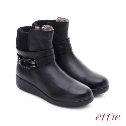 effie 混搭美型 異材質拼接編織扣帶輕量短靴 黑色