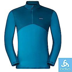 【瑞士 ODLO】限量款 男控溫半門襟高彈性輕量長袖保暖中層衣.運動排汗衫_寶藍