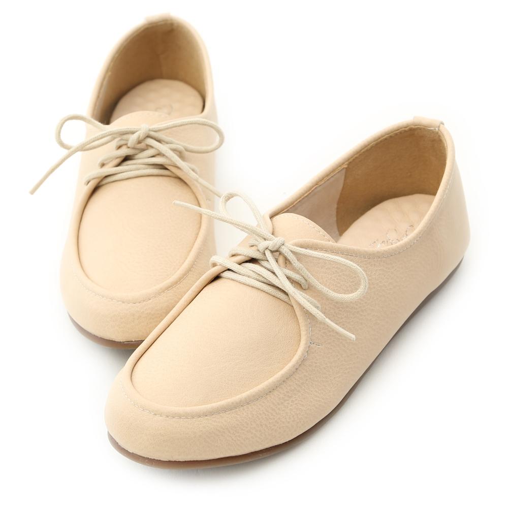 D+AF 俏皮個性.MIT綁帶造型平底休閒鞋*米杏