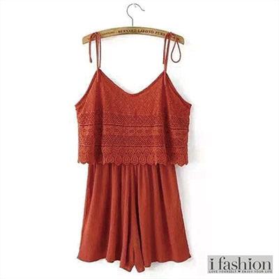 褲子-波西米亞綁帶連身褲-橘紅-iFashion