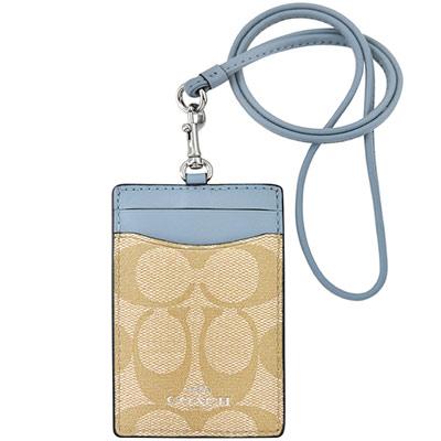 COACH 粉藍色大C PVC識別證件夾