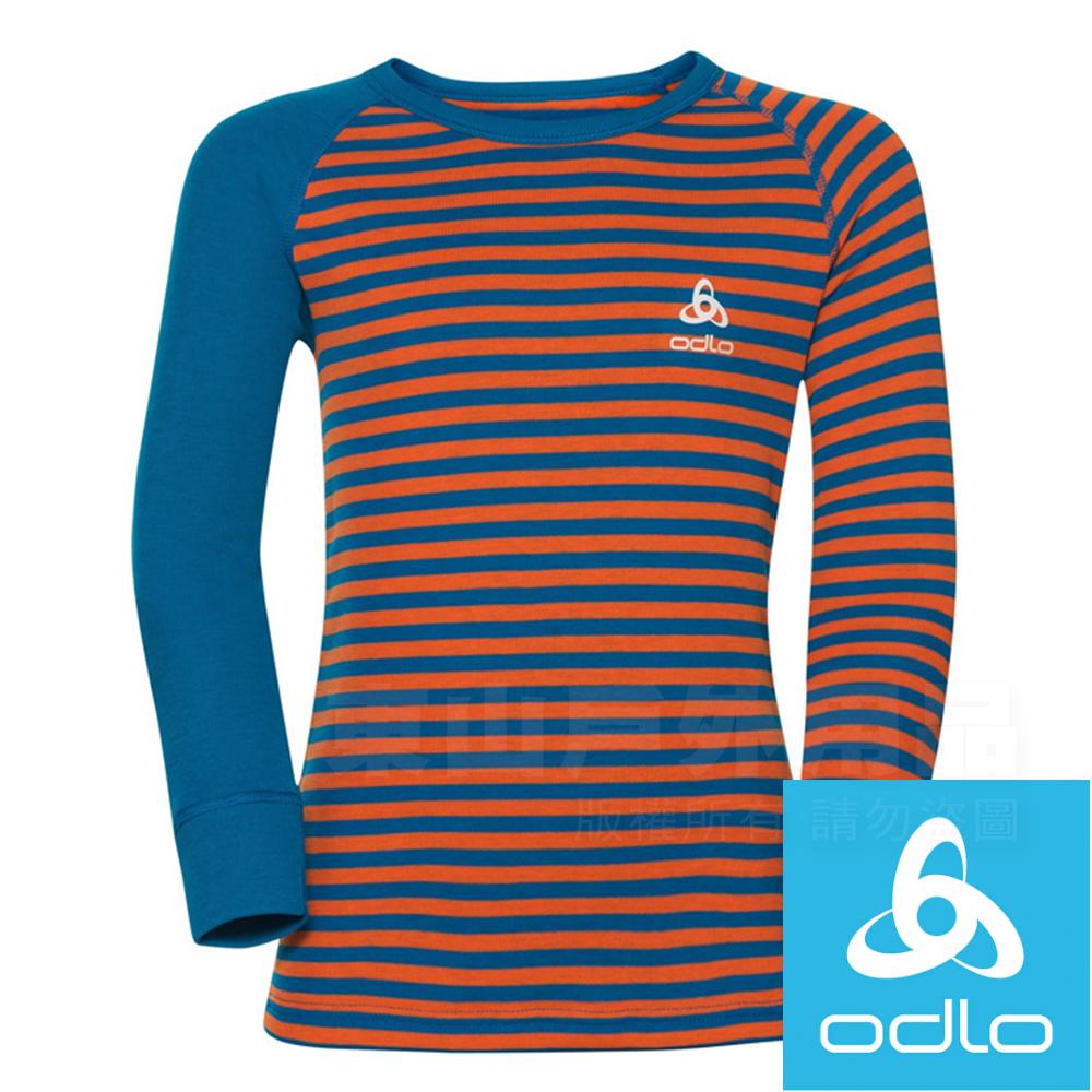 Odlo 10459_20364希臘藍/橘 童保暖圓領銀離子衛生/保暖衣
