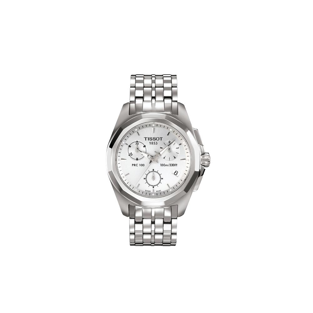 TISSOT PRC100 華麗風尚三眼計時腕錶(銀)-34.8mm