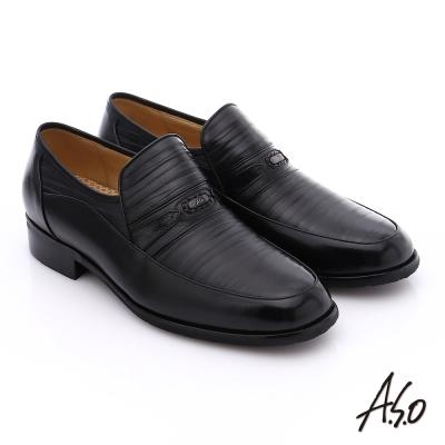 A.S.O 超輕雙核心 雙色拼接真皮直套式奈米紳士鞋 黑色