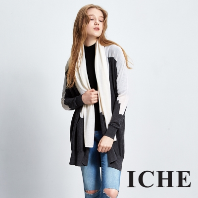 ICHE 衣哲 羊毛領巾撞色拼接針織長版外套