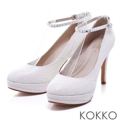 KOKKO手工婚鞋 -優雅女神水鑽繫帶防水台高跟鞋 - 蕾絲白