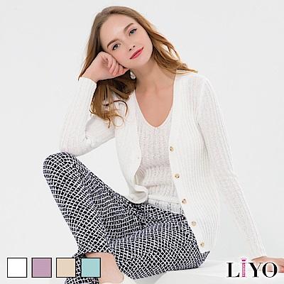LIYO理優V領羅紋針織背心(白色)