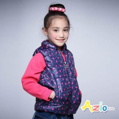Azio Kids 童裝-鋪棉背心 搖粒絨愛心點點雙口袋拉鍊背心(藍)