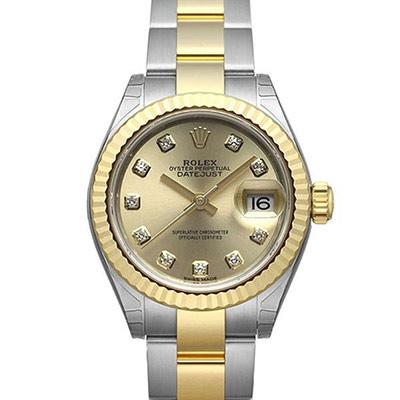 ROLEX 勞力士Datejust 279173蠔式半金10顆鑽日誌型版帶腕錶-金面/28