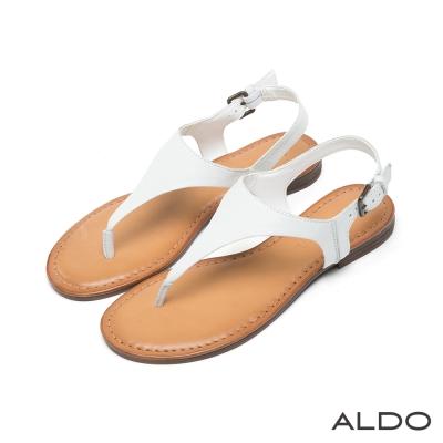 ALDO-原色真皮V字金屬繫帶夾腳涼鞋-清新白色