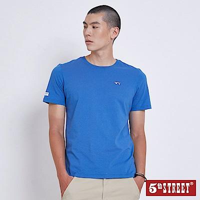 5th STREET 基本袋花圓領短袖T恤-男-灰藍