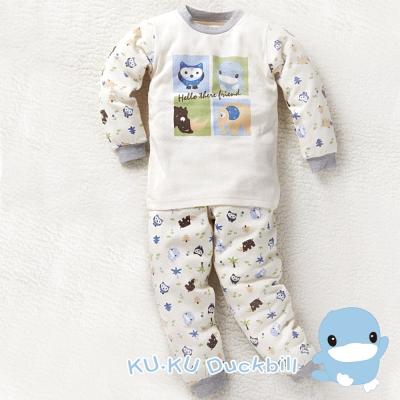 KU.KU酷咕鴨-秋冬有機棉動物套裝-藍